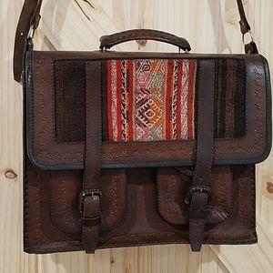 Vintage real leather bag satchel western old purse